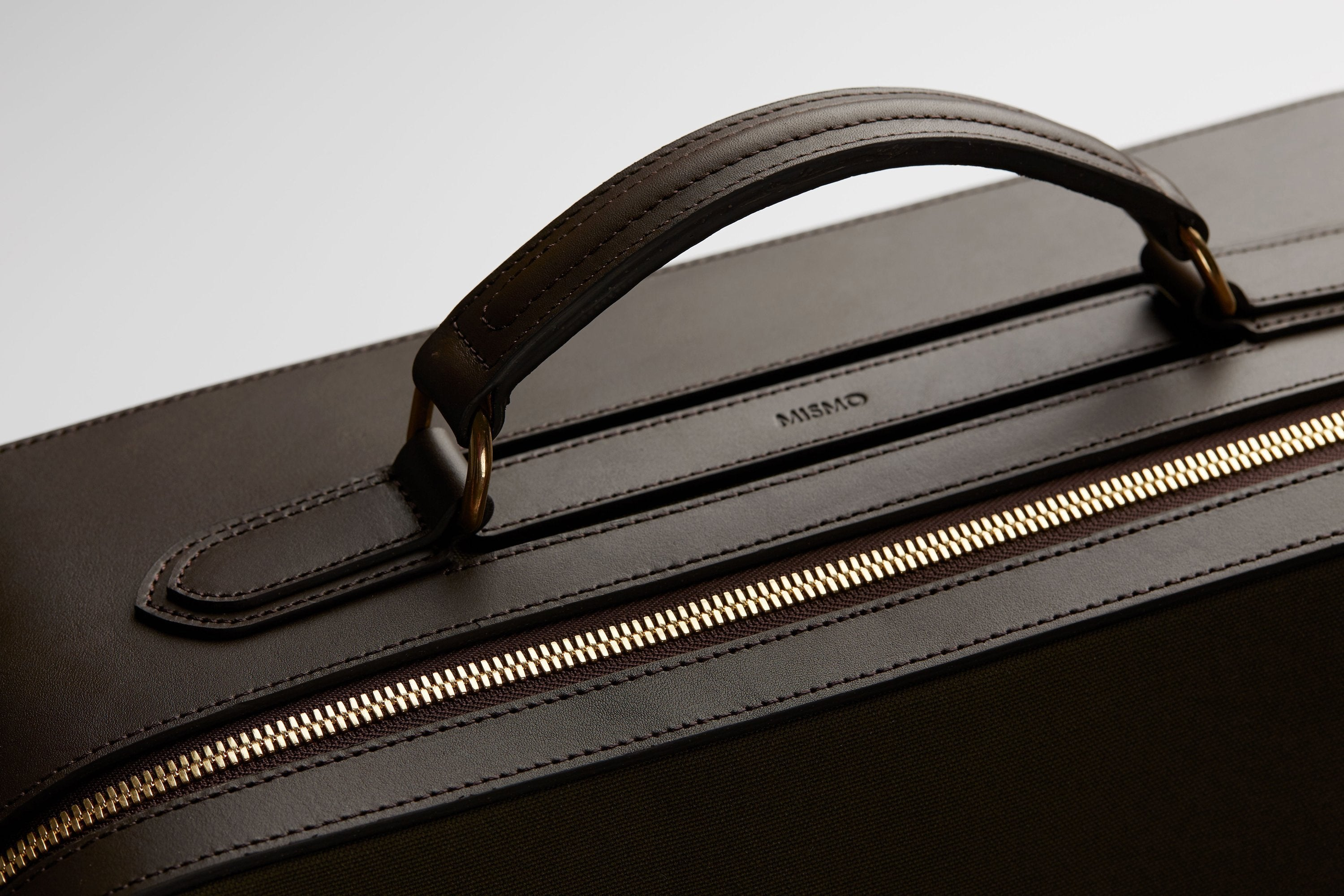 Mismo navy nylon briefcase with vegetable-tanned bridle leather