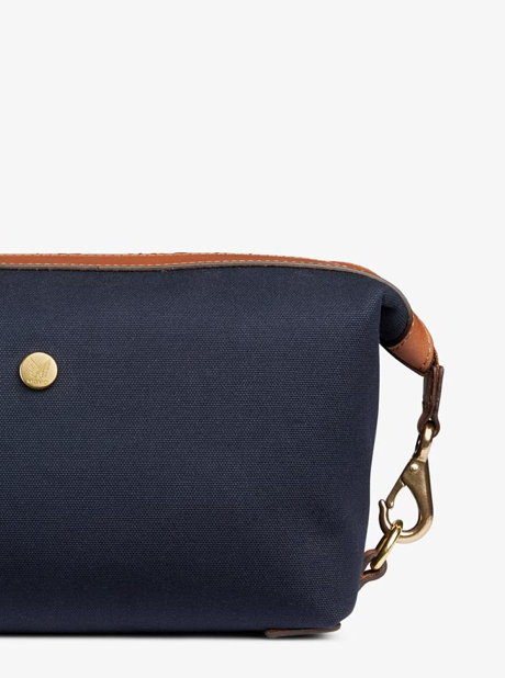 M/S Washbag - Midnight blue/Cuoio description image