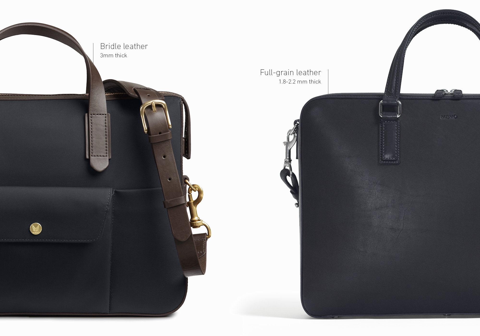 Mismo navy nylon briefcase with vegetable-tanned bridle leather and Mismo full-grain leather briefcase in black