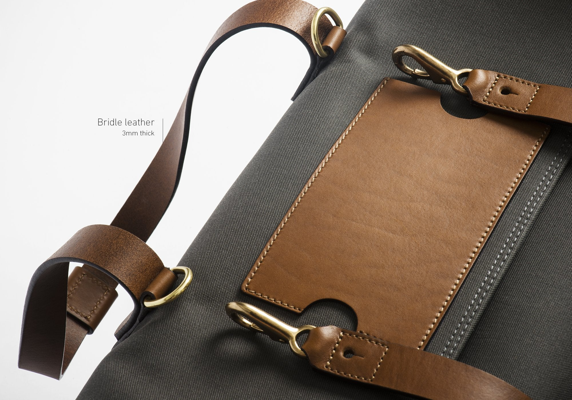 close-up of Mismo bag showcasing 3mm thick vegetable-tanned bridle leather