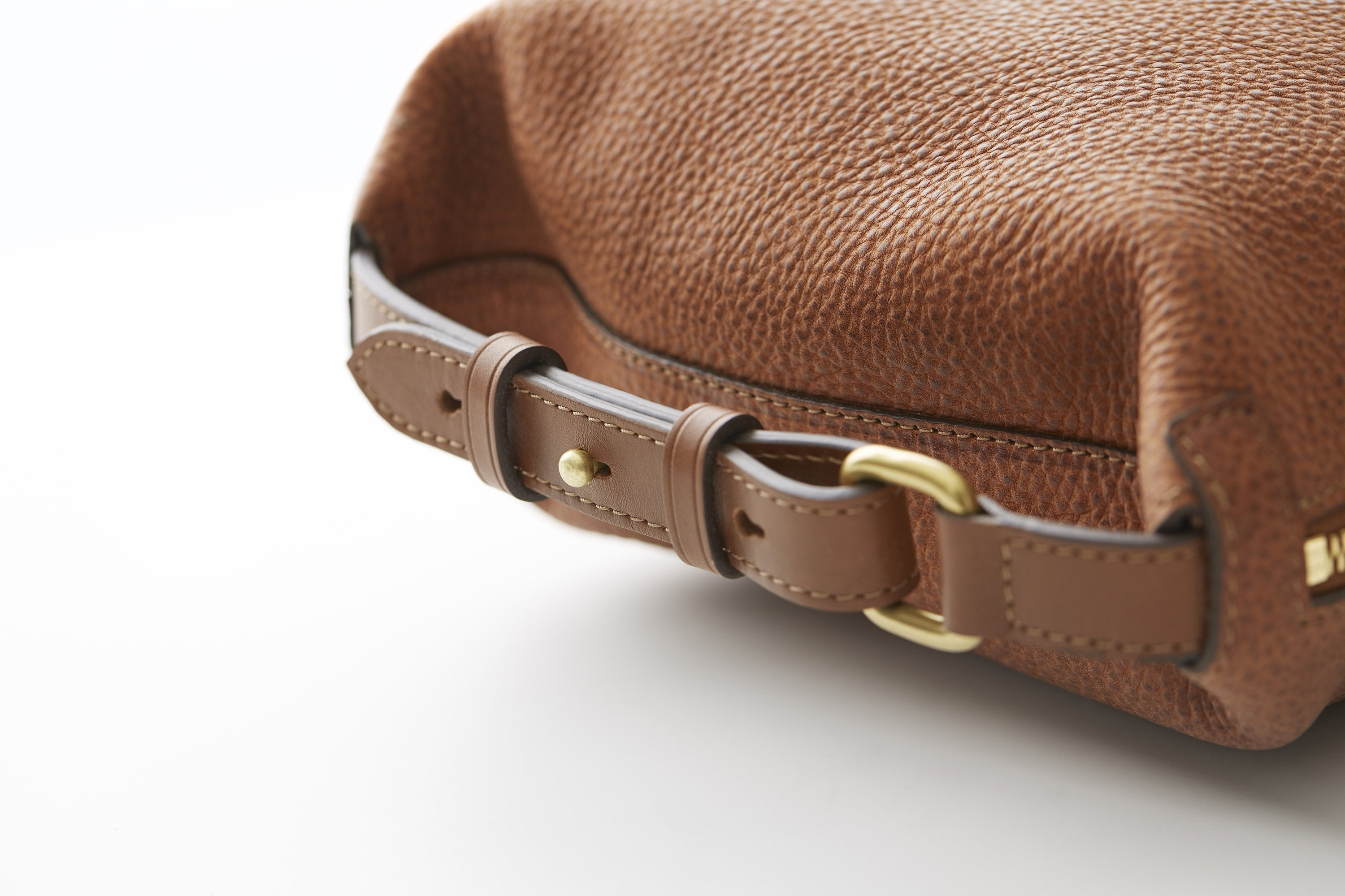close-up of Mismo full-grain leather bag