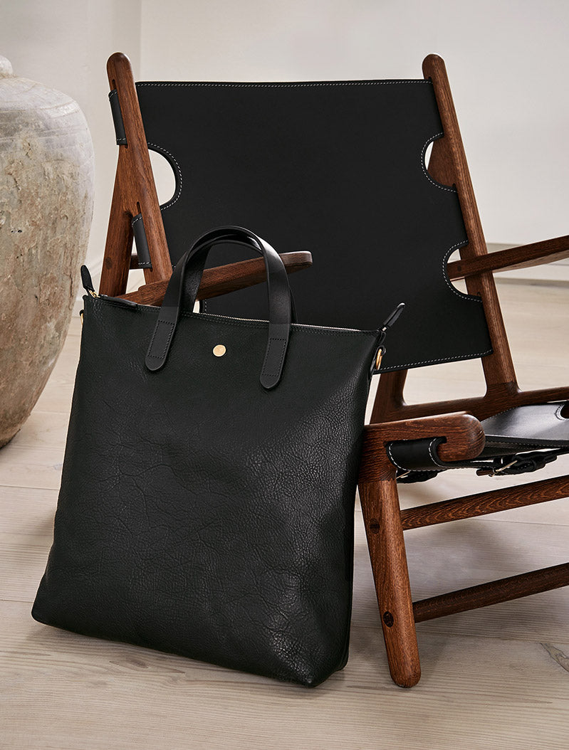 Shopper, Leather - Black/Black description image