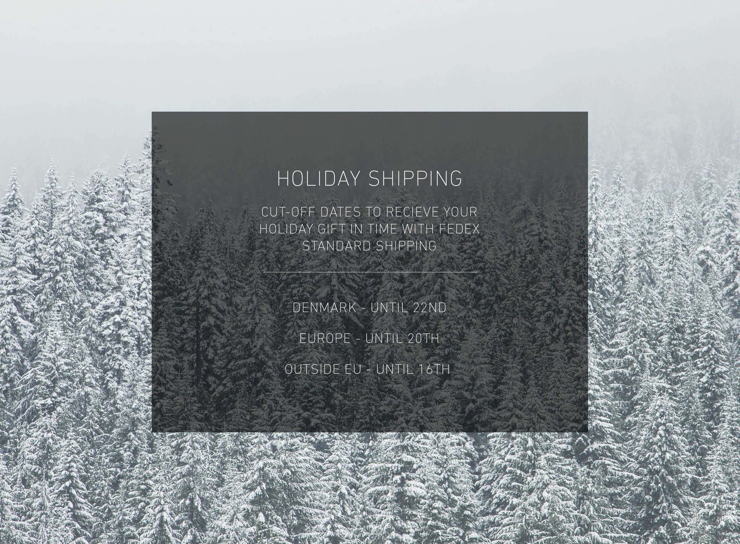 HOLIDAY SHIPPING INFORMATION
