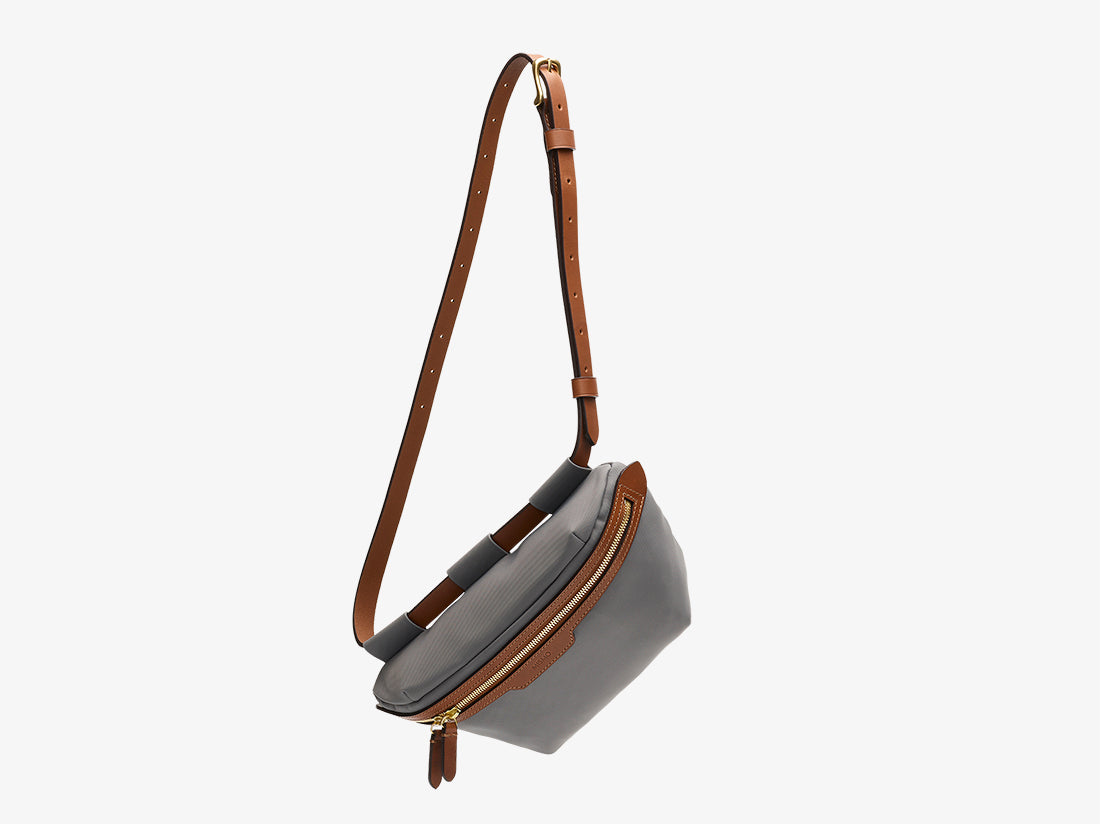 M/S Belt Bag - Concrete/Cuoio