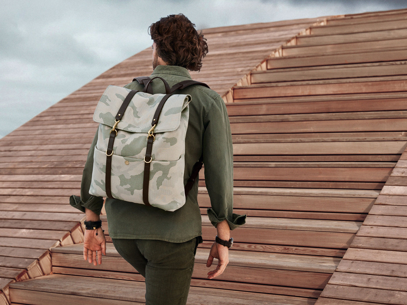 M/S Backpack – Sage Camo/Dark brown