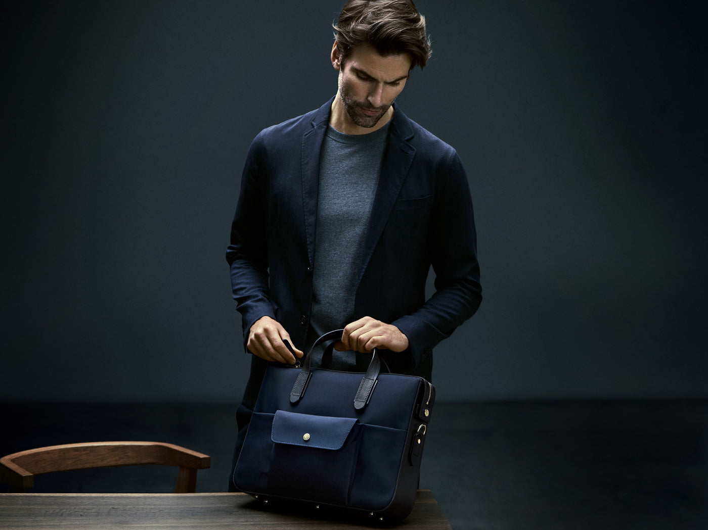 M/S Briefcase – Navy/Dark Brown
