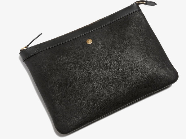 Pouch Large, Leather - Black/Black