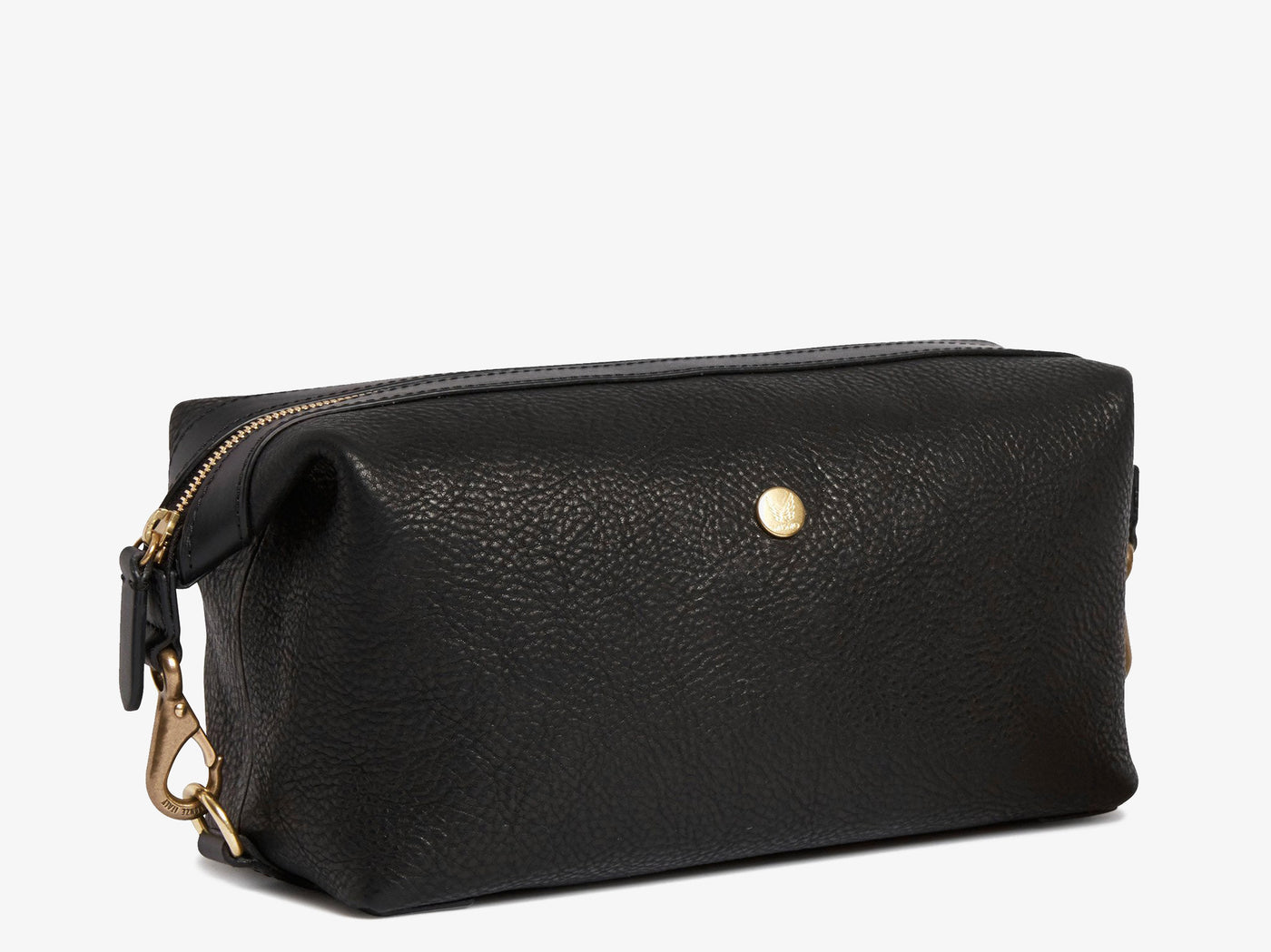 Washbag, Leather - Black/Black