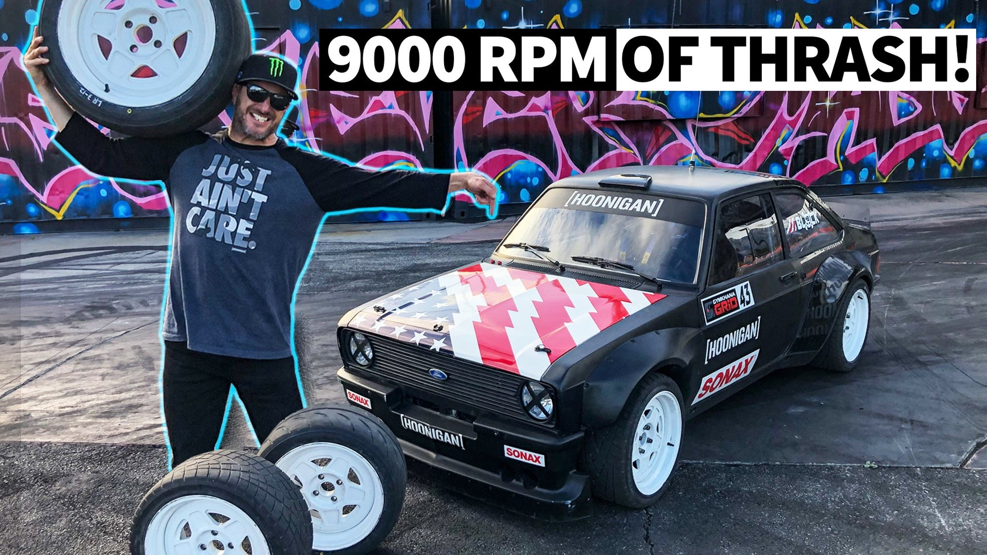Ken Block Shreds Toyo Tires at 9000 RPM at the Burnyard! Gymkhana GRID Tire Test in Ford Escort Mk2