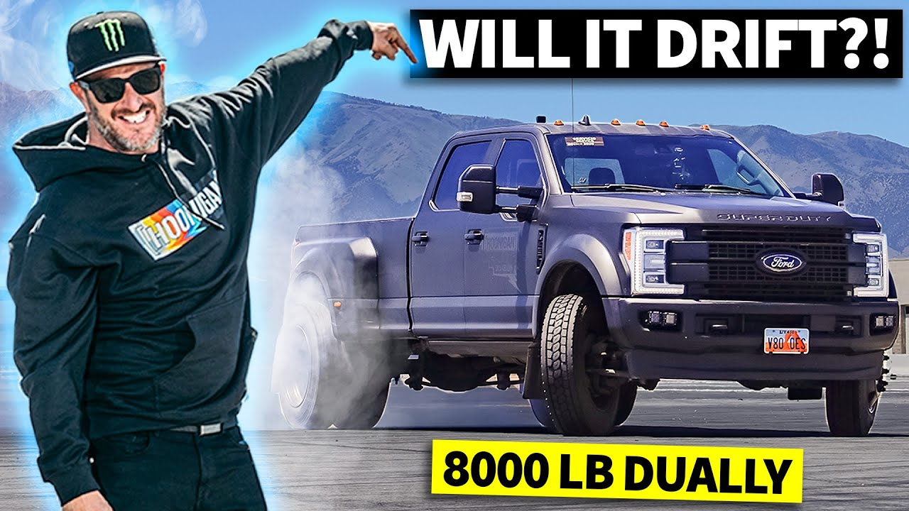 Ken Block Drifts A Dually! 8,000 lbs. of Diesel Powered Ford F-450 Tire Shredding Action