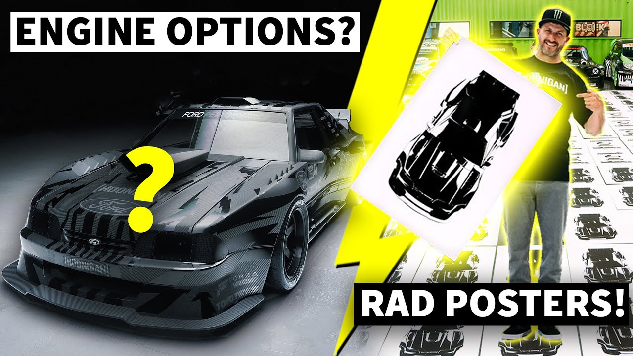 Hoonifox Engine Options + Ken Block Hand Printing Posters inside of Hoonigan Racing!