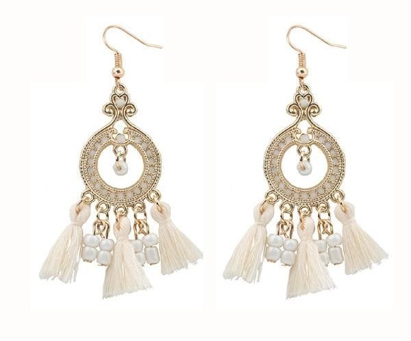 Boho Gemstone & Tassel Earrings - Beige
