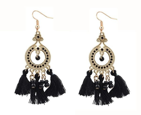 Boho Gemstone & Tassel Earrings - Black