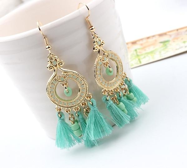 Boho Gemstone & Tassel Earrings - Light Blue