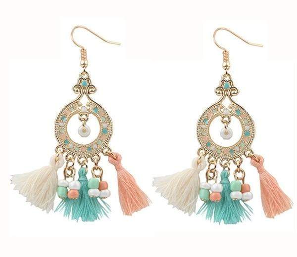 Boho Gemstone & Tassel Earrings - Mixed