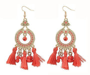 Boho Gemstone & Tassel Earrings - Red
