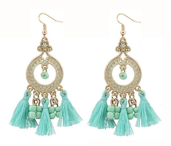 Boho Gemstone & Tassel Earrings