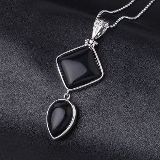 Double Gemstone Pendant Necklace - Black Onyx