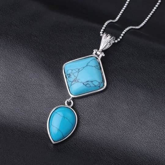 Double Gemstone Pendant Necklace - Blue Turquoise