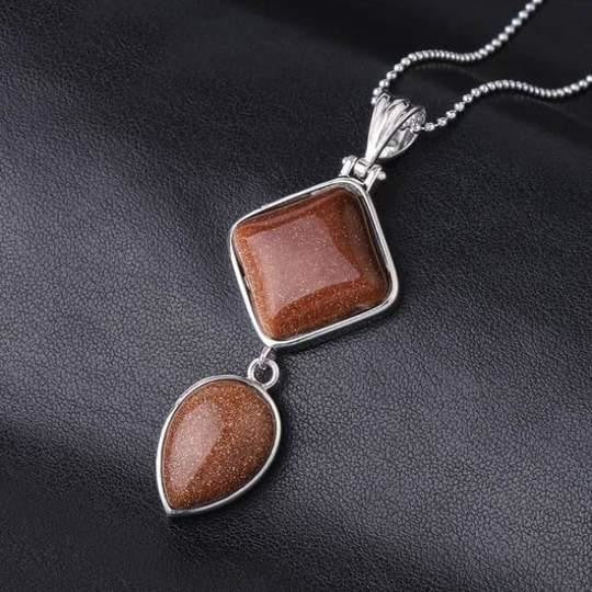 Double Gemstone Pendant Necklace - Brown Sand