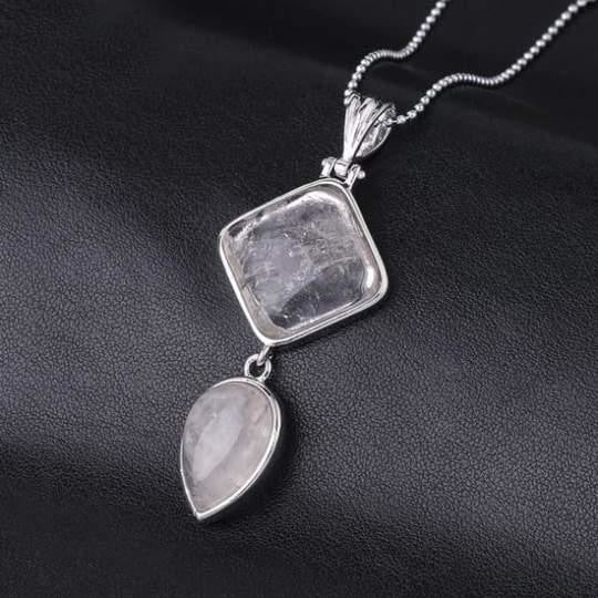 Double Gemstone Pendant Necklace - Crystal Quartz