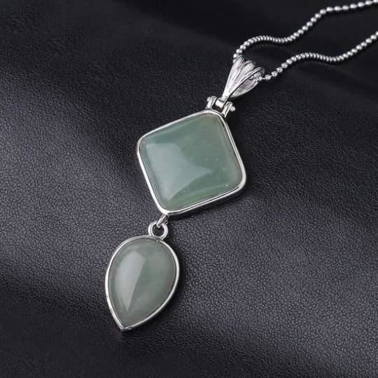 Double Gemstone Pendant Necklace - Green Aventurine