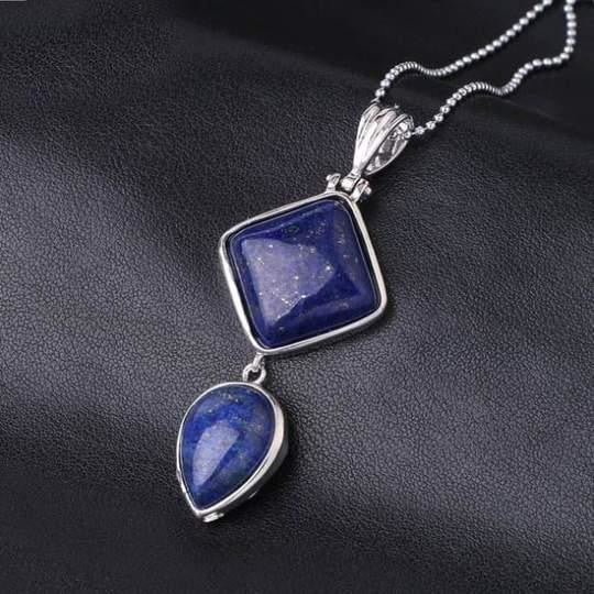 Double Gemstone Pendant Necklace - Lapis
