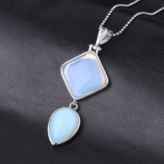 Double Gemstone Pendant Necklace - Opal