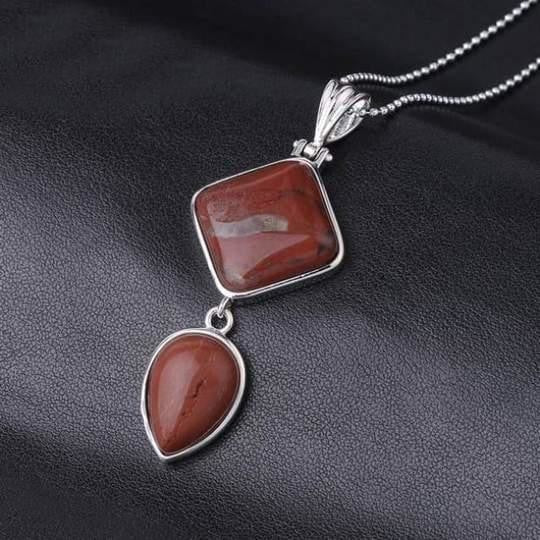 Double Gemstone Pendant Necklace - Red Jasper