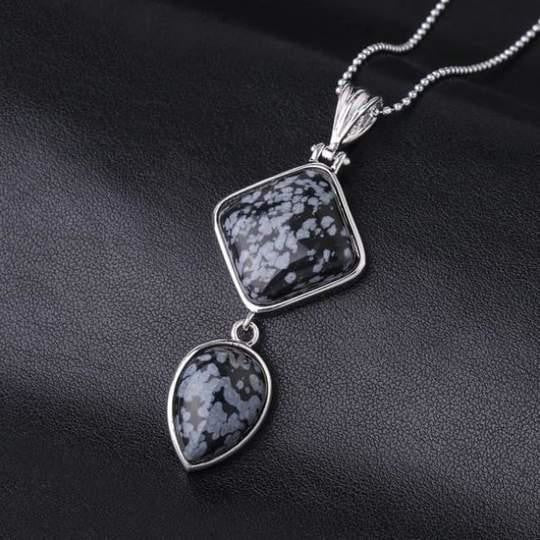 Double Gemstone Pendant Necklace - Snowflake Stone
