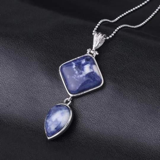 Double Gemstone Pendant Necklace - Sodalite