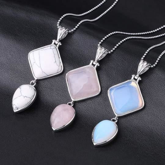 Double Gemstone Pendant Necklace