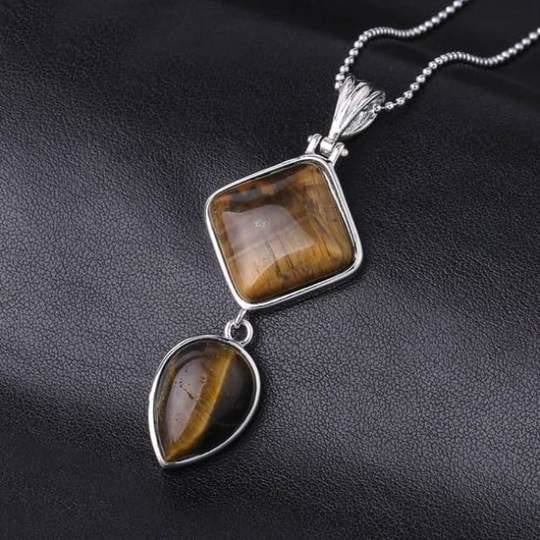 Double Gemstone Pendant Necklace - Tigers Eye