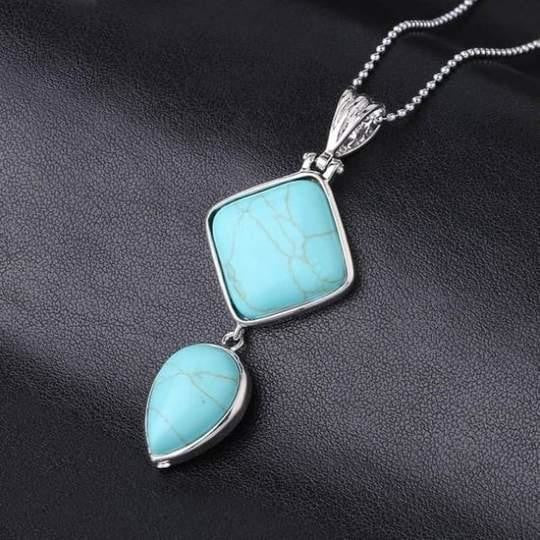 Double Gemstone Pendant Necklace - Turquoise