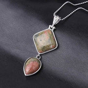 Double Gemstone Pendant Necklace - Unakite