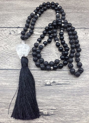 Lava Stone Mala Bead Necklace with Crystal Quartz Pendant