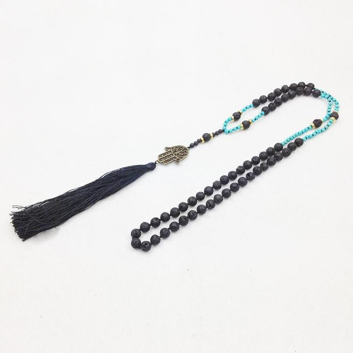 Mala Bead Necklace with Hamsa Pendant