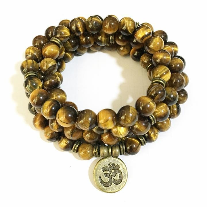 Tigers Eye Mala Bead Necklace with Ohm Pendant - Ohm Charm