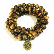 Tigers Eye Mala Bead Necklace with Ohm Pendant - Lotus Charm