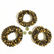 Tigers Eye Mala Bead Necklace with Ohm Pendant