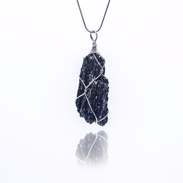 Wire Wrapped Gemstone Pendant (Choose Your Crystal!) - Meteorite