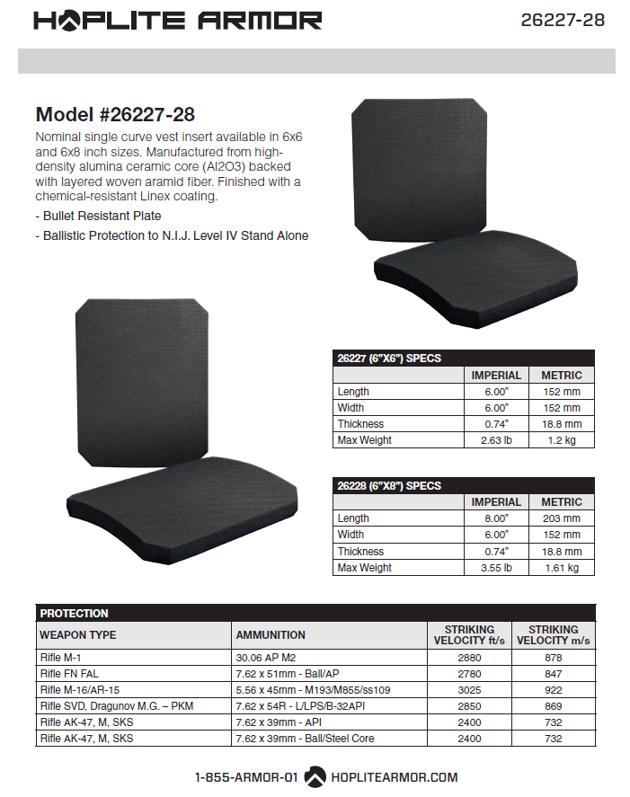 Two Side Plates: NIJ Certified Level IV Stand Alone (26227-26228)