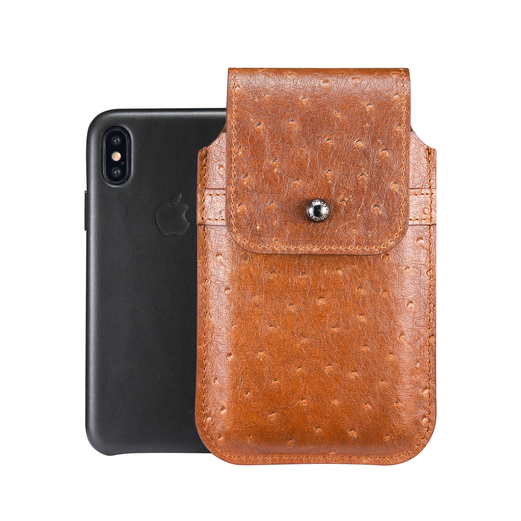 Brown Ostrich Embossed Leather - Barrett 2017 Holster Case for iPhone X - Blacksmith-Labs