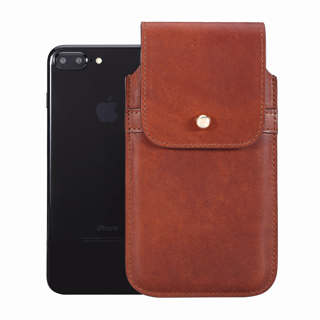 Limited Edition: Barrett 2017 Belt Clip Holster for Apple iPhone 6 Plus/6s Plus/7 Plus/8 Plus (5.5 inch screen) - Horween Essex Dark Cognac Leather Finish