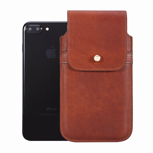 Horween Essex Dark Cognac Leather - Barrett 2017 Holster Case for iPhone 8 Plus - Blacksmith-Labs