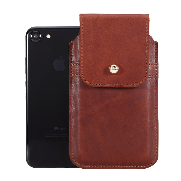 Horween Essex Dark Cognac Leather - Barrett 2017 Holster Case for iPhone 8 - Blacksmith-Labs