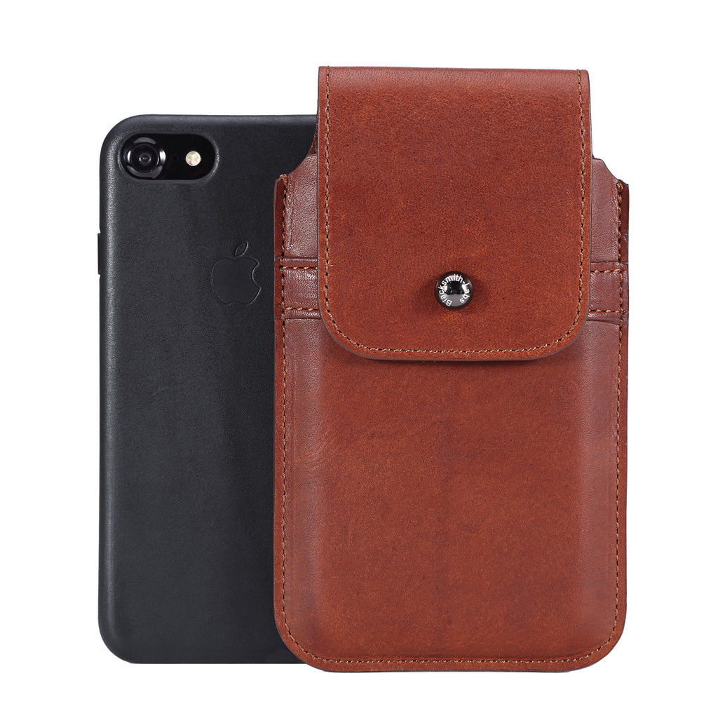 Horween Essex Dark Cognac Leather - Barrett 2017 Holster Case for iPhone X - Blacksmith-Labs