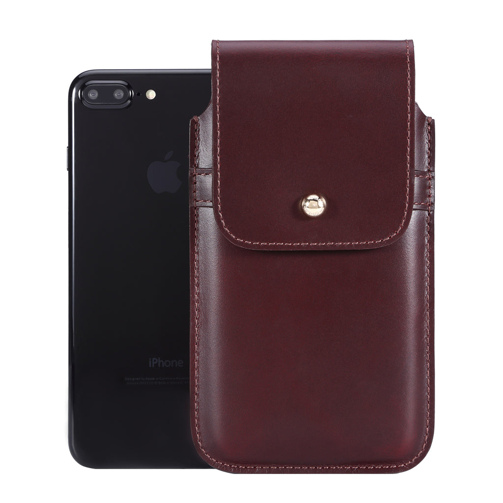 Barrett 2017 Belt Clip Holster for Apple iPhone 6/6s/7 Plus (5.5 inch screen) - Burgundy Cowhide Leather Finish