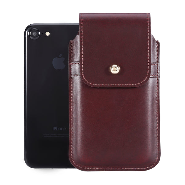 Burgundy Leather - Barrett 2017 Holster Case for iPhone 8 - Blacksmith-Labs
