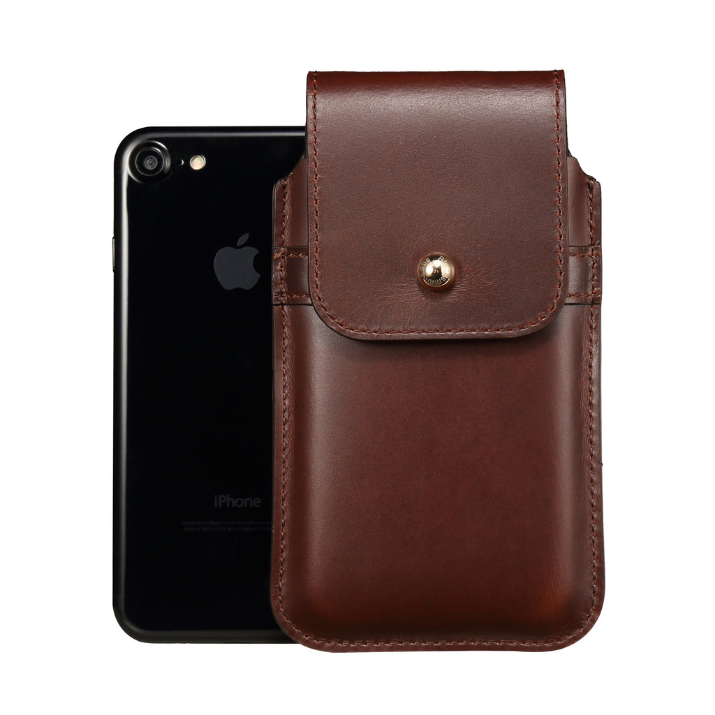 Brown Leather - Barrett 2017 Holster Case for iPhone 8 - Blacksmith-Labs